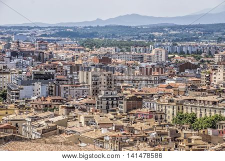 Panoramic view on the city of Girona Catalonia Spain