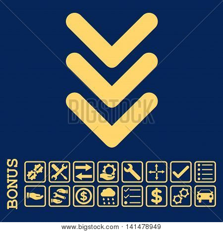 Triple Arrowhead Down icon with bonus pictograms. Glyph style is flat iconic symbol, yellow color, blue background. Bonus style is square rounded frames with symbols inside.