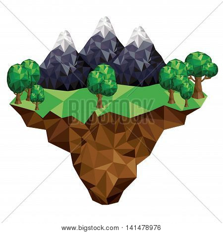 mountain and terrain low poly isolated icon design, vector illustration  graphic