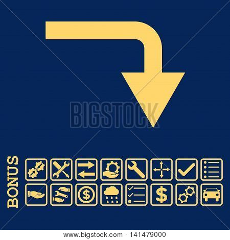 Turn Down icon with bonus pictograms. Glyph style is flat iconic symbol, yellow color, blue background. Bonus style is square rounded frames with symbols inside.