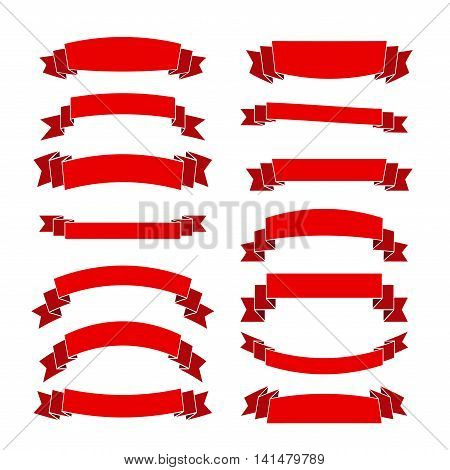 Red ribbon banners set. Beautiful blank for decoration graphic. Old vintage style Flat design. Premium decorative elements isolated on white background. Template collection labels Vector illustration
