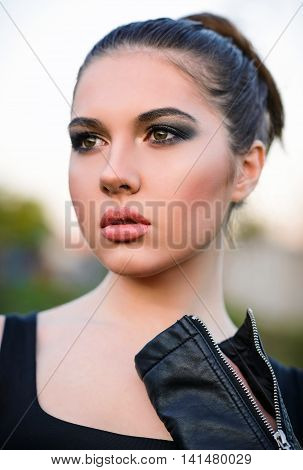 Closeup portrait of a beautiful young girl