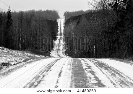 A black & white photo of Shady Lane road in Lincoln county Wisconsin.