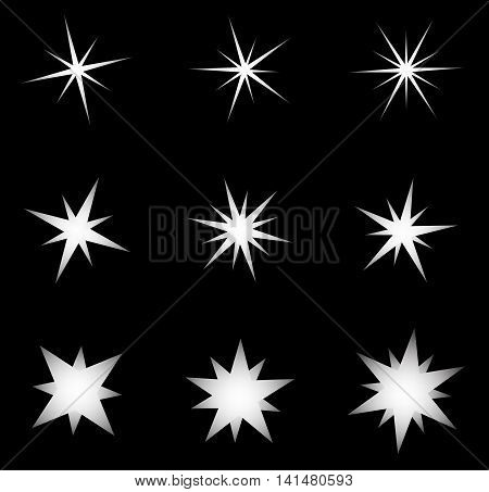 Transparent Star Vector Symbol Icon Design. Beautiful Illustration Of Glowing Light Effect Stars Bur