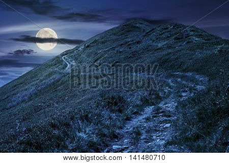 Footpath To The Mountain Top At Night