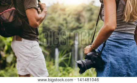 Hiker Couple Standing In Nature