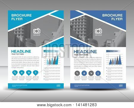 Blue business brochure flyer design layout template in A4 size, magazine ads, catalog, leaflet, cover, annual report, infographics