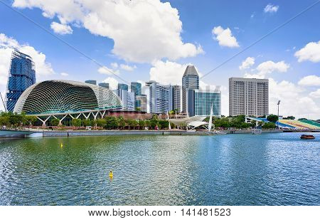 Singapore, Singapore - March 1, 2016: Esplanade - Theaters on the Bay. Skyline in Downtown Core at Marina Bay in Financial Center in Singapore.