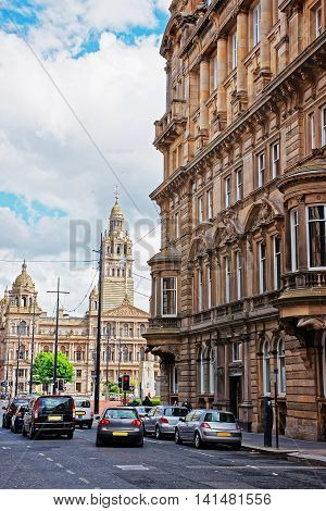 Glasgow, UK - May 8, 2011: Glasgow City Chambers on George Square in Glasgow. Glasgow is the city in the Lowlands in Scotland in the United Kingdom.