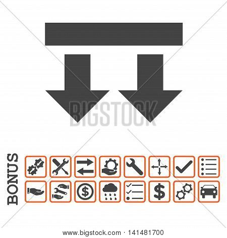 Bring Down icon with bonus pictograms. Glyph style is flat iconic symbol, orange and gray colors, white background. Bonus style is bicolor square rounded frames with symbols inside.