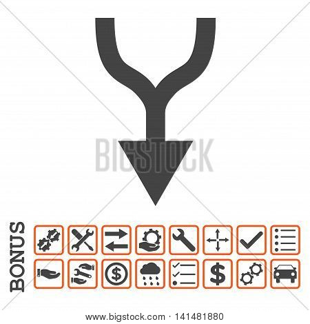 Combine Arrow Down icon with bonus pictograms. Glyph style is flat iconic symbol, orange and gray colors, white background. Bonus style is bicolor square rounded frames with symbols inside.