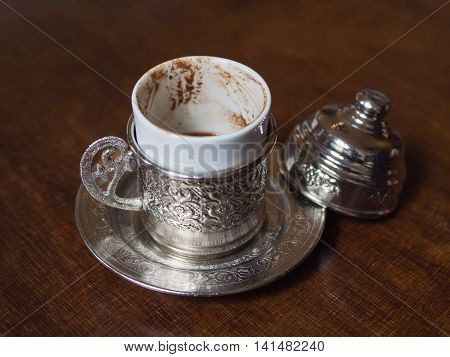 Turkish Mocha Coffee Metal Cup On A Wooden Table
