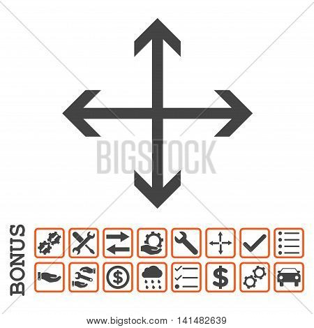 Expand Arrows icon with bonus pictograms. Glyph style is flat iconic symbol, orange and gray colors, white background. Bonus style is bicolor square rounded frames with symbols inside.
