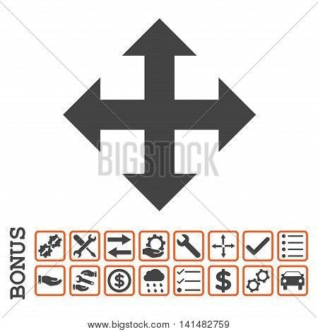 Expand icon with bonus pictograms. Glyph style is flat iconic symbol, orange and gray colors, white background. Bonus style is bicolor square rounded frames with symbols inside.