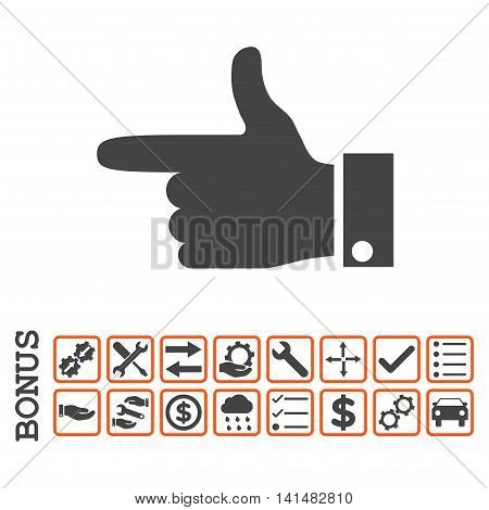Hand Pointer Left icon with bonus pictograms. Glyph style is flat iconic symbol, orange and gray colors, white background. Bonus style is bicolor square rounded frames with symbols inside.