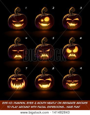 Dark Jack O Lantern Cartoon - 9 Vampire Expressions Set