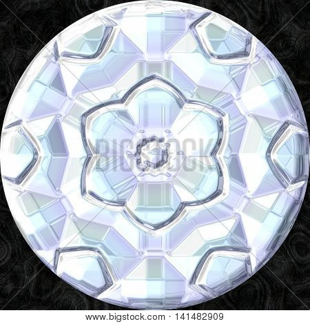White orb with flower ornament in center