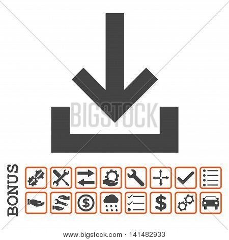 Inbox icon with bonus pictograms. Glyph style is flat iconic symbol, orange and gray colors, white background. Bonus style is bicolor square rounded frames with symbols inside.