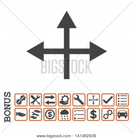 Intersection Directions icon with bonus pictograms. Glyph style is flat iconic symbol, orange and gray colors, white background. Bonus style is bicolor square rounded frames with symbols inside.