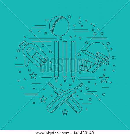 Round composition with cricket game symbols and objects. Cricket game icons arranged in round shape. Professional sport equipment graphic design elements isolated on green background. Vector template.