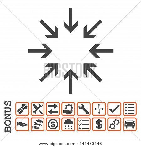 Pressure Arrows icon with bonus pictograms. Glyph style is flat iconic symbol, orange and gray colors, white background. Bonus style is bicolor square rounded frames with symbols inside.