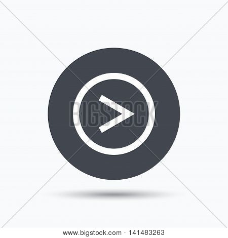 Arrow icon. Next navigation symbol. Flat web button with icon on white background. Gray round pressbutton with shadow. Vector