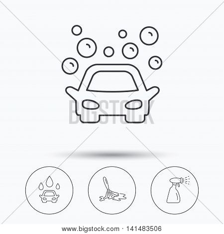 Car wash icons. Automatic cleaning station linear signs. Wet cleaning and spray flat line icons. Linear icons in circle buttons. Flat web symbols. Vector