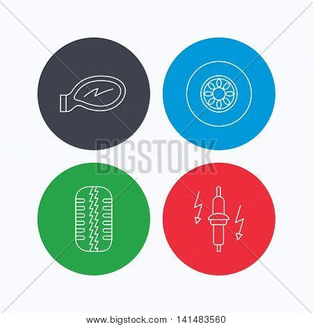 Wheel, car mirror and spark plug icons. Tire tread linear sign. Linear icons on colored buttons. Flat web symbols. Vector
