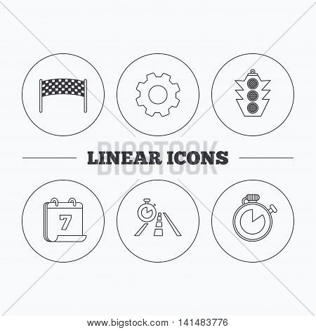 Checkpoint, traffic lights and timer icons. Travel time, road linear signs. Flat cogwheel and calendar symbols. Linear icons in circle buttons. Vector