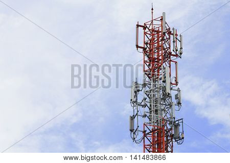 Base Station with blue sky, close up, telecommunication background