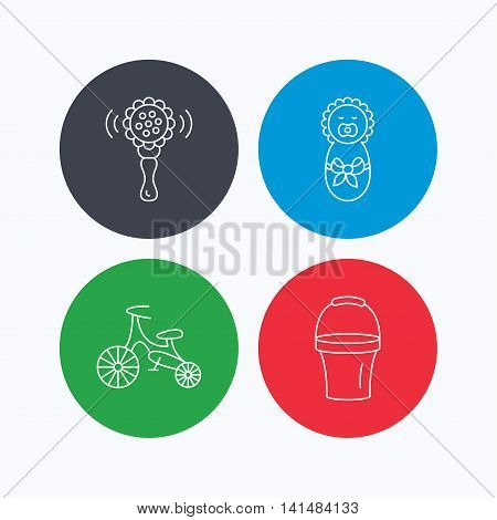 Newborn, rattle and first bike icons. Newborn child, bucket linear signs. Linear icons on colored buttons. Flat web symbols. Vector