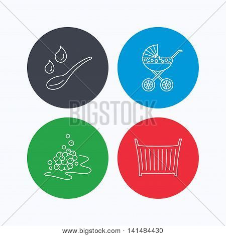 Pram carriage, spoon and drops icons. Bubbles, crib bed linear signs. Linear icons on colored buttons. Flat web symbols. Vector