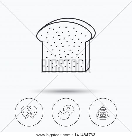 Cake, pretzel and bread rolls icons. Toast linear sign. Linear icons in circle buttons. Flat web symbols. Vector