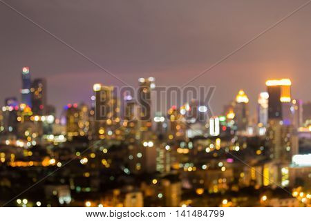 Abstract blurred bokeh lights city downtown at night
