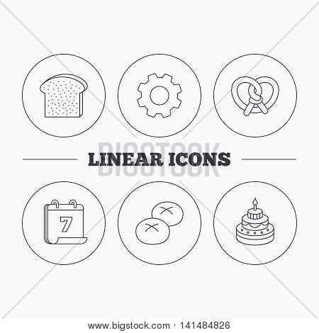 Cake, pretzel and bread rolls icons. Toast linear sign. Flat cogwheel and calendar symbols. Linear icons in circle buttons. Vector