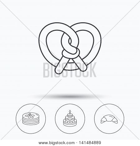 Croissant, pretzel and pancakes icons. Sweet cake linear sign. Linear icons in circle buttons. Flat web symbols. Vector