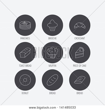 Croissant, cake and bread icons. Muffin, brioche and sweet donut linear signs. Pancakes with syrup flat line icons. Linear icons in circle buttons. Flat web symbols. Vector