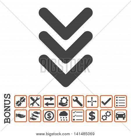 Triple Arrowhead Down icon with bonus pictograms. Glyph style is flat iconic symbol, orange and gray colors, white background. Bonus style is bicolor square rounded frames with symbols inside.