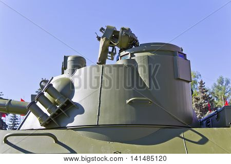 Manhole of military machine at the exhibition under open sky
