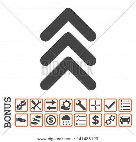 Triple Arrowhead Up icon with bonus pictograms. Glyph style is flat iconic symbol, orange and gray colors, white background. Bonus style is bicolor square rounded frames with symbols inside.