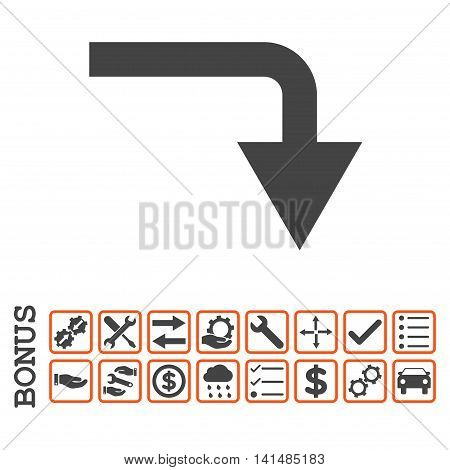 Turn Down icon with bonus pictograms. Glyph style is flat iconic symbol, orange and gray colors, white background. Bonus style is bicolor square rounded frames with symbols inside.
