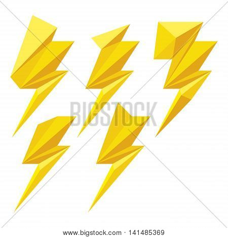 Set of yellow origami lightning bolts. Lightning bolts icons for computing web and app.