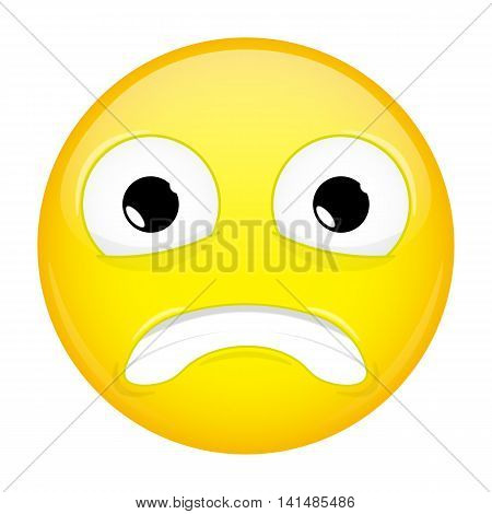 Shock emoji. Surprise emotion. Puzzled emoticon. Vector illustration smile icon.