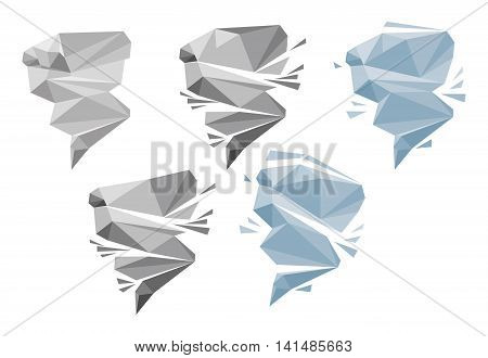 Origami the wind or tornado on a white background. The wind or tornado icons for computing web and app.