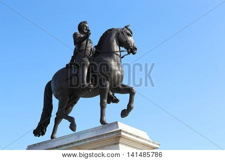 PARIS, FRANCE - MAY 13, 2015: It is statue of King Henri IV on island Cite in Paris.