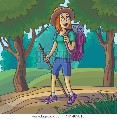 Hiking girl. Travelling young woman lost or walking in forest. Vector illustration.
