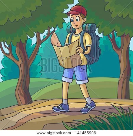 Hiking man. Travelling young man lost or walking in forest looking at map. Vector illustration.