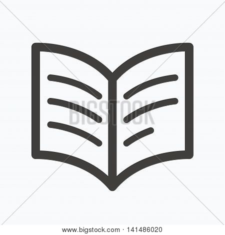 Book icon. Study literature sign. Education textbook symbol. Gray flat web icon on white background. Vector