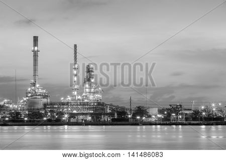 Black and White, Refinery plant during sunrise