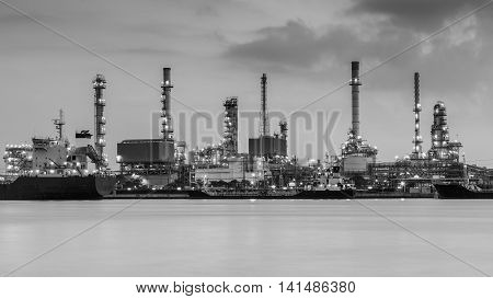 Black and White, Petroleum refinery riverfront during sunrise